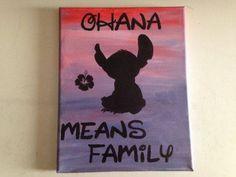 Disney Ohana Means Family painted on canvas.