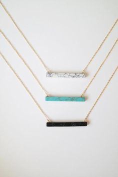 Add a pop of color to your look with this stylish stone bar necklace, or shop the Vertical Stone Bar Necklace. Jewelry Shop, Gold Jewelry, Jewelery, Jewelry Accessories, Fine Jewelry, Jewelry Necklaces, Jewelry Design, Bracelets, Cute Necklace