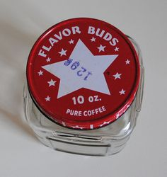 Vintage Coffee Glass Jar, Flavor Buds, Red and White Lid, Advertising Glass Coffee Collectible Fresh Coffee, Blended Coffee, Expensive Coffee, Coffee Jars, Too Much Coffee, Tip Jars, Uses For Coffee Grounds, How To Order Coffee, Coffee Tasting
