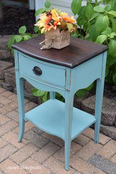 Annie Sloan Provence Chalk Paint night stand. www.facebook.com/sweetthreepeats www.sweetthreepeats.com