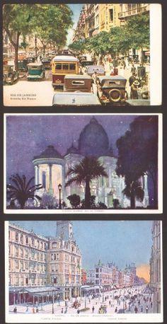 (3) Cartões Postais - Avenida Central / Palacio Monroe / Avenida Rio Branco - Rio de Janeiro início