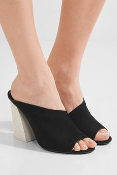 Wooden heel measures approximately 100mm/ 4 inches Black suede Slip onSmall to size. See Size & Fit notes.