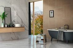 1 of 18 HD interior photos from Infinito by Fondovalle with tile items and online calculation of shipping expenses and lead time in USA. Terrazzo, Provence, Marble Effect, Interior Photo, Clawfoot Bathtub, Tiles, Bathroom, Design, Scale
