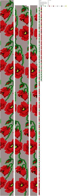 18 around Poppies Bead Crochet Patterns, Bead Crochet Rope, Seed Bead Patterns, Peyote Patterns, Jewelry Patterns, Beading Patterns, Beading Tutorials, Beaded Crochet, Bracelet Crochet