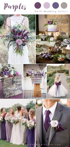 shades of purples and grey country wedding color inspiration wedding colors Top 10 Wedding Color Trends We Expect to See in 2019 & 2020 (parte-one) Country Wedding Colors, Gray Wedding Colors, Summer Wedding Colors, Wedding Color Schemes, Rustic Purple Wedding, Summer Colors, Trendy Wedding, Purple Grey Weddings, Wedding Colour Combinations