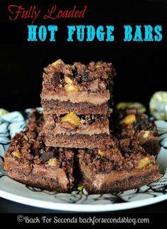 Reese's Hot Fudge Bars http://backforseconds.com #dessert #fudge #peanutbuttercups #chocoloate