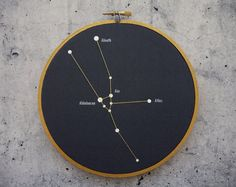 Black Friday SALE! Use coupon code BlackFriday to receive 20% off your order! Hurry, valid until November 28th. ------------------------------------- Displayed in this embroidery hoop is a fantastic representation of the Taurus Constellation. A selection of stars in this constellation