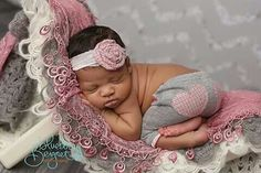African American newborn girl gray and pink