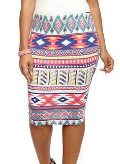 Plus Size Tribal Print Pencil Skirt