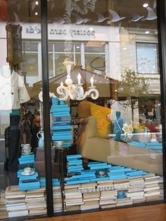 anthropologie turquoise book display
