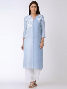 Buy Blue Hand embroidered Linen Kurta Women Kurtas Online at Jaypore.com