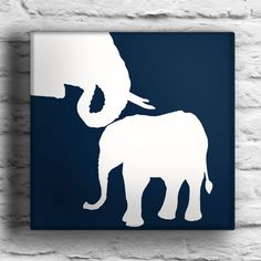 Mother Elephant and Baby Elephant Custom Silhouette Painting