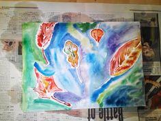 Bladeren tekenen, lijntjes met houtlijm overtrekken en nat op nat schilderen met waterverf
