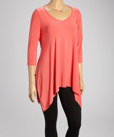 Love this Coral Scoop Neck Handkerchief Tunic - Plus by Sole Dione on #zulily! #zulilyfinds