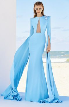 Shop Juliette Satin Crepe Drape L/S Crystal Gown . This **Alex Perry** gown features draped long sleeves, a cut out on front, and gem details. Prom Dresses Blue, Formal Dresses, Sweetheart Prom Dress, Chiffon Dresses, Lace Chiffon, Dresses Elegant, Nice Dresses, Alex Perry, Stunning Wedding Dresses