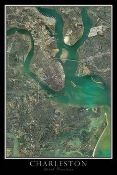 Charleston South Carolina Satellite Poster Map - Visit to grab an amazing super hero shirt now on sale!