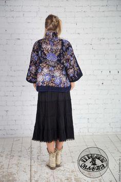 Купить куртка синель Цветочная сказка - тёмно-синий, цветочный, куртка женская, купить куртку