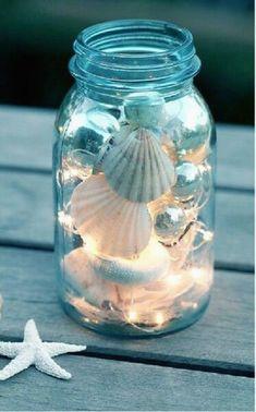 Twinkle tights and seashells in a mason jar cozy summer decor - DIY Mason Jar Ideas & Tutorials for Holiday - pinupi love to share