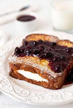 Lemon Cream Cheese Stuffed French Toast with Pressure Cooker Blueberry Compote