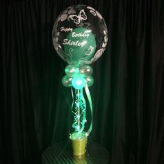 Special custom built table decor piece using Ribbon Lites in gorgeous green. Led Balloons, Balloon Lights, Led String Lights, Battery Operated Led Lights, 80th Birthday, Birthday Celebrations, Make Design, Light Bulb, Birthdays