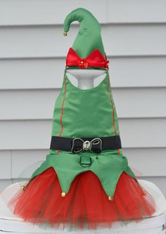 Elf Christmas Dog Harness Tutu Dress by KOCouture on Etsy.  www.etsy.com/shop/kocouture  pet clothing, dog dress, christmas, christmas dog dress, elf, dog costume, elf dress, winter fashion, ko couture, small dog, yorkie, chihuahua, italian greyhound, pet apparel, puppy clothes