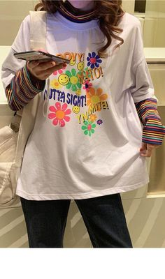 Rainbow Sleeve Splicing T Shirt Swaggy Outfits, Cute Casual Outfits, Aesthetic Shirts, Aesthetic Clothes, Indie Outfits, Indie Clothes, Retro Outfits, Fashion Outfits, Estilo Indie