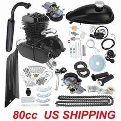 80cc 2 Cycle Petrol Gas Engine Motor Kit for Motorized Bicycle Bike Black Body
