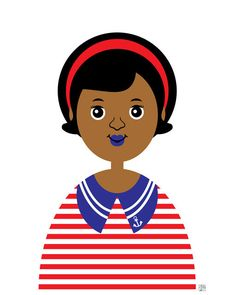 Ahoy Girl 21 Art Print Children's African by thepairabirds on Etsy (Art & Collectibles, Prints, little girl art, african american art, children's art, nautical kids art, red and white stripe, yachting club, boat club, 11x14 print, tabitha brown, boat captain, black sailor girl, black girl wall art, girl pirate print)