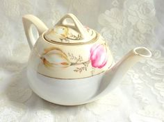 Vintage RS Germany Pink Peach Flower Porcelain Teapot