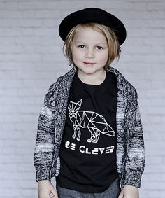 Black Clever Fox Crewneck Tee - Kids #zulily #zulilyfinds