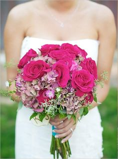 Beautiful pink and navy blue wedding at an arboretum pinterest rustic chic hot pink wedding bouquet mightylinksfo