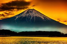 Beautiful Mt Fuji landscape, by Akio Iwanaga Mount Fuji, located on Honshu Island, is the highest mountain in Japan at 3,776.24 m. An active stratovolcano that last erupted in 1707–08, Mount Fuji lies about 100 kilometres south-west of Tokyo, and can be seen from there on a clear day #photo #landscape #image #colors