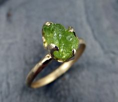 Raw Rough Gold Peridot Ring Rustic 14k Gold Gemstone Stacking ring Recycled  Green Stone Ring byAngeline