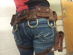 BOUDICCA pocket belt with detachable leg holster: Burning Man
