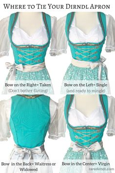 http://www.raredirndl.com where to tie your apron ties
