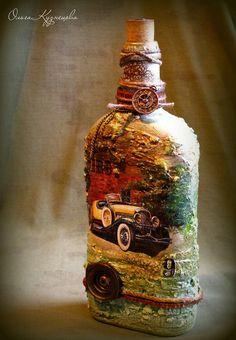 Декор, декупаж бутылок. Decoupage. 2016