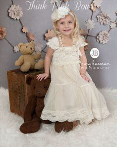 Lace flower girl dress rustic ivory flower girl by ThinkPinkBows