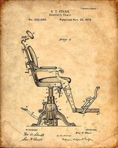 Dentist's Chair Patent Print From 1879 - Patent Art Print - Patent Poster… #patentartgifts #patentartvintage #PatentArt
