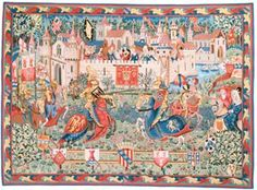 Camelot and King Arthur Tapestry Medieval Tapestries - Woven in France - Pansu. King Arthur and his knights spent countless days jousting for the Queen Guinevere and the ladies of the court's favor, while safely inside the walls of the famous fictional castle in England. Camelot and King Arthur Pansu Tapestry wall hanging is a work-of-art and a treasure to have in your home decor.