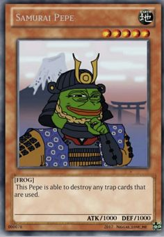 Samurai Pepe is just Jinzo Yugioh Trap Cards, Funny Yugioh Cards, Funny Cards, Stupid Memes, Dankest Memes, Funny Memes, Hilarious, Pokemon Card Memes, Reaction Pictures