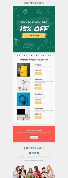 Customize this email design template with your content and send it to your mailing list for free! BEE is the easiest and quickest way to design elegant, mobile responsive emails, starting from scratch or from our 400+ ready-to-use templates.Try our BEE editor for free at the link above. (No signup required) #emaildesign #emailtemplate #backtoschool  Designed by Martin Nikolchev Professional Email Templates, Html Email Templates, Email Template Design, Email Design, Page Template, Responsive Email, Mobile Responsive, Bee Free, Back To School Sales