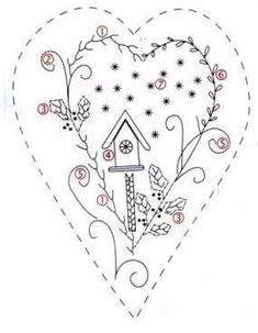 Hand Embroidery and Its Types - Embroidery Patterns Embroidery Hearts, Christmas Embroidery, Embroidery Applique, Cross Stitch Embroidery, Machine Embroidery, Embroidery Materials, Hand Embroidery Patterns, Vintage Embroidery, Wool Applique