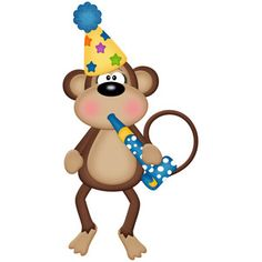 Silhouette Design Store - View Design #148304: birthday monkey with party blower