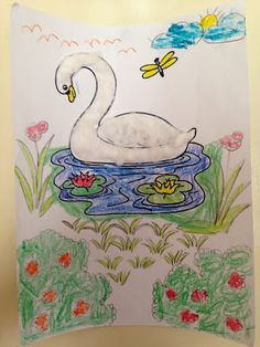 """Swan craft for """"The Story of Swan Lake."""" > Coloring page, pencils and crayons, cotton."""