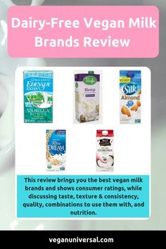 Dairy-Free Vegan Milk Brands Review Vegan Milk, Soy Milk, Milk Brands, Dairy Free, Nutrition, Silk Soy Milk, No Dairy