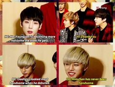 Himchan talking about the members looks, featuring Daehyun's sass ;P