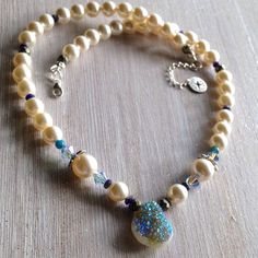 Pearl and Drusy Necklace & Swarovski Crystals with Natural Gemstones / Wedding Gift / Bridesmaid Necklace / Sterling Silver / Made to Order