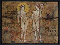 Jose Luis Ferragut - Garden of Eden - 2005, resin and oil on  spanish mailbag canvas. 126 X 96 CM framed.