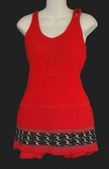 Red knit bathing suit, c. early At this time, bathing suits for men and for women became very similar. Both often sported a modesty by juliet Vintage Bathing Suits, Vintage Swimsuits, Vintage Outfits, Vintage Fashion, Vintage Clothing, Casual Outfits, Fashion Outfits, Casual Clothes, Women's Fashion