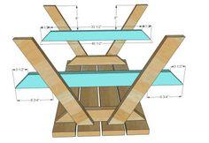 Rechthoek picknicktafel tekening ondersteboven afgebeeld.